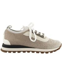 Brunello Cucinelli Sneakers Met Precious Oogjes - Naturel