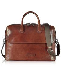 The Bridge Leather Briefcase w/Shoulder Strap - Marrone