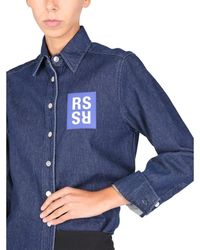 Raf Simons Shirt Jacket With Logo Patch Azul