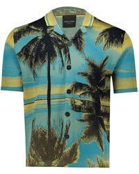 Roberto Collina Jacquard knit shirt - Bleu