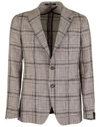 Tagliatore Large Checked Jacket Blazer - Bruin