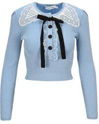 Self-Portrait Knitwear Pf21078tkl - Blauw