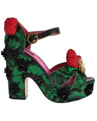 Dolce & Gabbana Roses Crystal Shoes - Groen