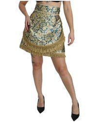 Dolce & Gabbana Baroque Jacquard High Waist Mini Skirt - Neutro