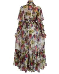 Dolce & Gabbana - Bloemen Zijden Lange Jurk - Lyst