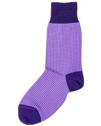 Be Soft Men's Low Socks Pied De Poule - Paars