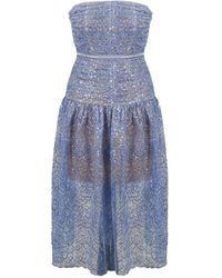 Self-Portrait - Embroiddered Sequin Strapless Mini Dress - Lyst