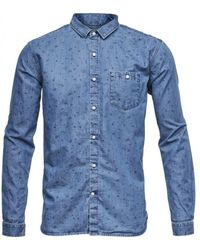 Knowledge Cotton Apparel Chambray Shirt - Blauw