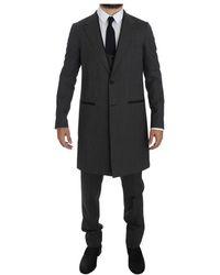 Dolce & Gabbana Wool 3 Piece Long Suit - Grijs