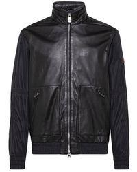 Peuterey Leather And Nylon Bomber Jacket - Zwart