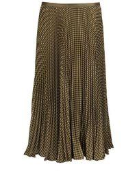 Ralph Lauren Houndstooth Pleated Skirt - Bruin