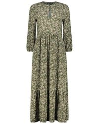 Luisa Cerano Eclectic Floral Print Midi Dress - Groen