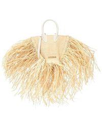 Jacquemus Le Petit Baci Straw And Leather Bag - Naturel