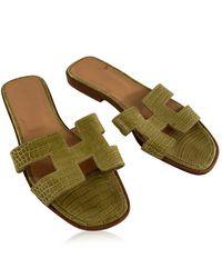 Hermès Sandali in pelle con scivolo piatto Oran, scarpe slip on taglia 36 - Verde