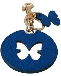 Dolce & Gabbana Logo Badge Keychain - Blauw