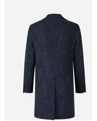 Canali Wool Herringbone Coat Negro - Azul