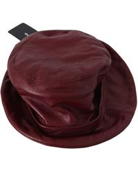 Dolce & Gabbana Soft Leather Boater Bucket Hat - Rood