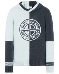 Stone Island Pull à capuche en tricot - Blanc