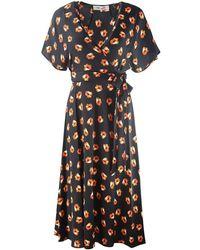 Diane von Furstenberg Kelsey Polka Dot Flower Faux Wrap Dress - Zwart