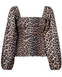 Ganni Leopard Print Blouse - Bruin