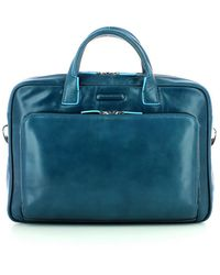 Piquadro Two Handles Leather Briefcase - Blauw