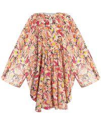 Stella McCartney Watercolour Floral Beach Dress - Naturel