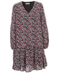 Essentiel Antwerp Verci V Neck Flounced Dress L/s - Zwart