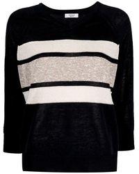 Peserico Striped V-neck jumper - Noir