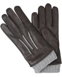 Santa Eulalia Leather and Cashmere Gloves Marrón