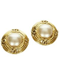 Chanel Vintage Gebruikte Faux Pearl Clip-on Oorbellen - Wit