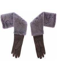 Dolce & Gabbana Mink Fur Lambskin Suede Leather Gloves - Grijs