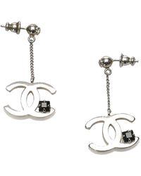 Chanel Vintage Chain Drop Earrings - Grijs