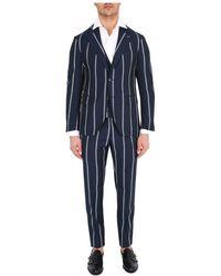 Gabriele Pasini Three-piece Pinstripe Suit - Blauw