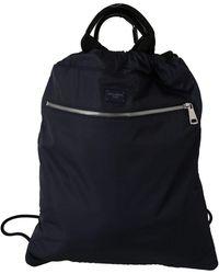 Dolce & Gabbana Blue Nylon Men Nap Sack Drawstring Backpack Bag - Noir