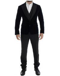 Dolce & Gabbana Velvet Grey 3 Stuk Slim Fit Suit - Blauw