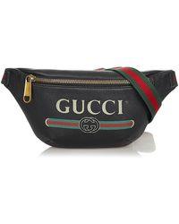 Gucci Tweedehands Leren Riemtas Met Logo - Zwart