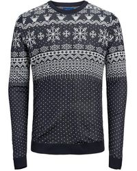 Jack & Jones Fair Isle Sweater - Blauw
