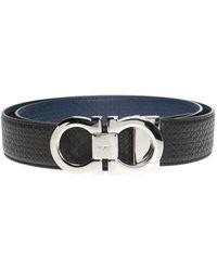 Ferragamo Two-layered Belt With Gancini Motif - Zwart