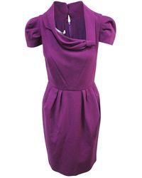 Oscar De La Renta Vintage Geplooide Midi-jurk Met Korte Mouwen - Paars