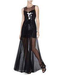 BCBGMAXAZRIA - Cynthia Black Sequinned Detail Sunburst Pleated Gown - Lyst