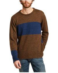 Universal Works Round neck bicolor sweater - Marron