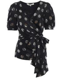 Diane von Furstenberg Larryn polka dot silk jacquard blouse - Nero