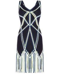 Hervé Léger Charoletta Basket Weave Fringe Jacquard Dress - Noir