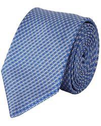Brioni Printed Silk Tie - Blauw