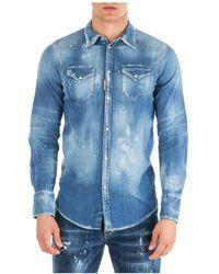 DSquared² Camicia a maniche lunghe da uomo - Blu