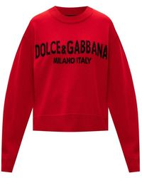 Dolce & Gabbana Cashmere sweater with logo - Rosso