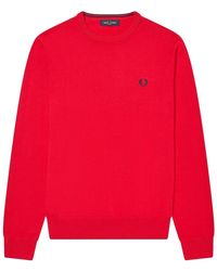 Fred Perry Classic Crew Neck Genser - Rood