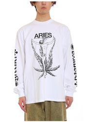 Aries Weed jesus tee - Blanc