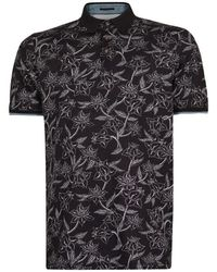 Mauro Grifoni Linear Floral Printed Polo - Zwart