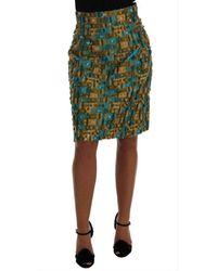 Dolce & Gabbana Jacquard Straight Pencil Skirt - Groen